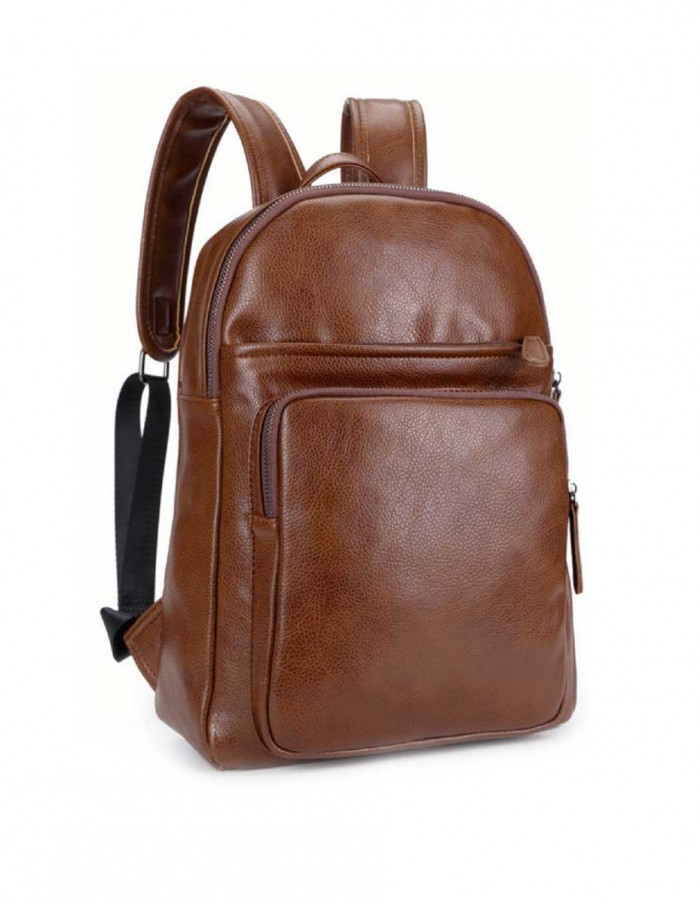 vegan brown leather backpack